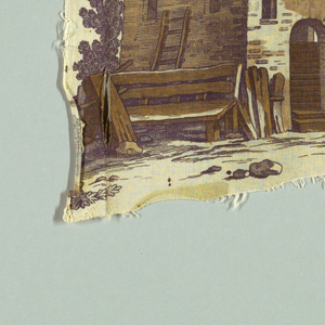 Series of isolated scenes of people and animals drinking; some from a fountain, some from a jug, some from wine bottles and glasses. Rustic buildings. Polychrome on white.