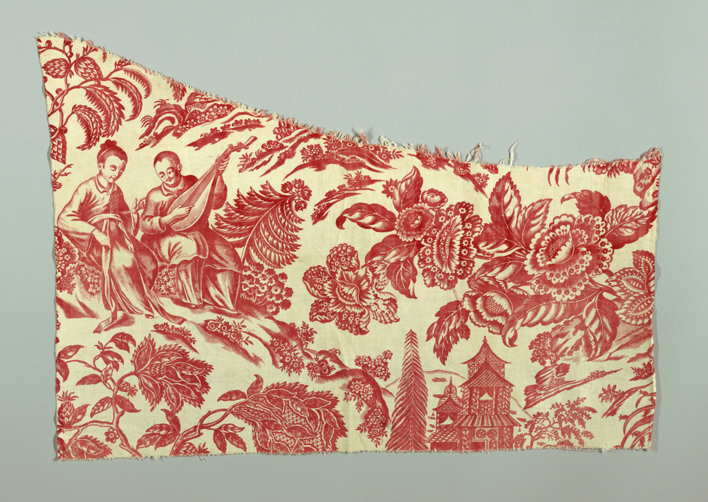Fragment of chinoiserie-style toile with two seated figures, one holds a Chinese stringed instrument (pipa). Near them is a pagoda-style building. The spaces between are filled with large-scale exotic flowers and foliage.