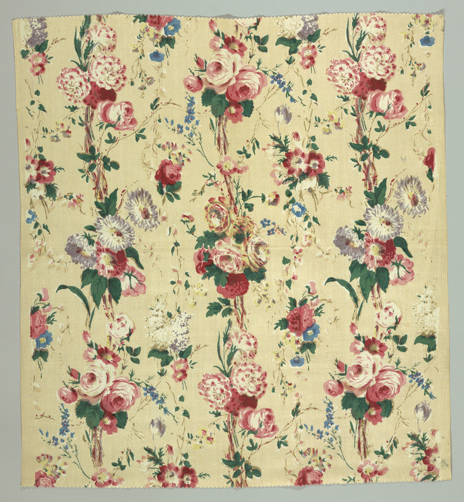 Reprinted using mid-nineteenth century blocks. Design has a stippled ground showing a concentric arrangement of a geometric pattern. Multicolored bouquets rise vertically in rows with smaller bouquets in between. No outlines.