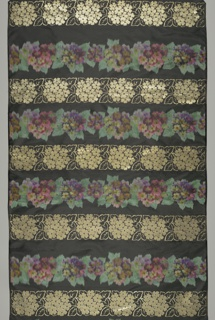 Black taffeta ground with a design of life-sized wild roses arranged in horizontal rows. Alternate rows of warp-printed multicolored roses and roses woven in gold metallic thread.
