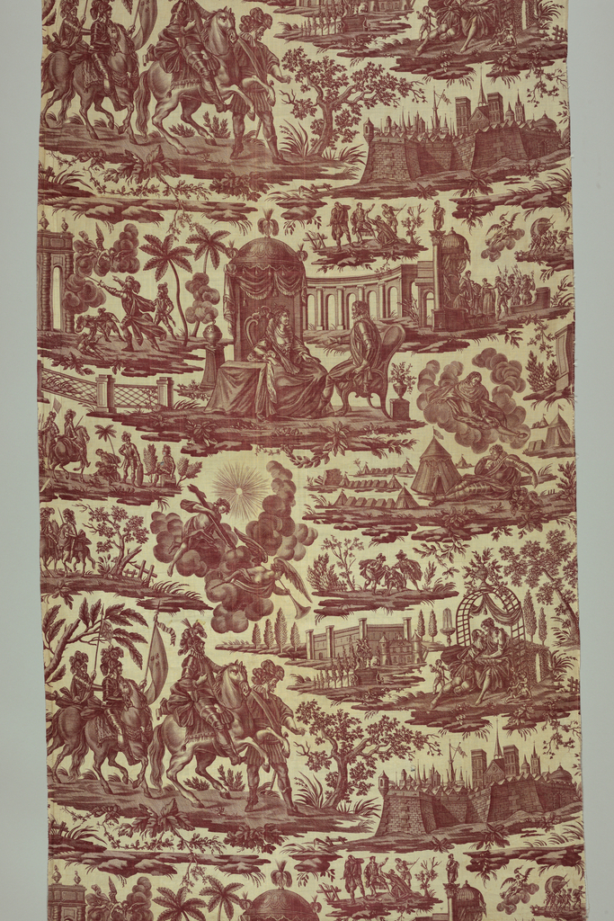 Several scenes illustrating episodes in the life of Henri IV, including battle scenes, amorous scenes and a building with the horseshoe staircase at Fontainebleau. In brown (sepia) on white.