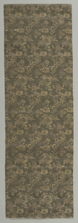 Panel brocaded with gilded paper strips has clusters of tightly-grouped floral clusters in shades of brown, purple and gold.