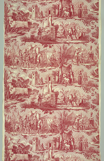 Cotton, plate-printed in red; six scenes from the life and martyrdom of Jeanne d'Arc.  Her march on Paris; her arrow wound being dressed; the capture of the Tourelles; Jeanne praying before the Shrine of St. Catherine; captured with her brothers and brought before Philip the Good; her burning at the stake in Rouen.  Scenes from the life of Joan of Arc: Joan as a young girl praying before the statue of St. Catherine, speaking to the Dauphin and asking for troops, taking the Tourelle at the Battle of Orleans, having her shoulder wound dressed, leading the Dauphin to his coronation at Reims, and being burned at the stake by the English.