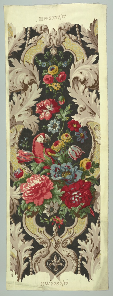 Column of parrots and flowers in bold colors on a black field, with grisaille framework of scrolls and acanthus.