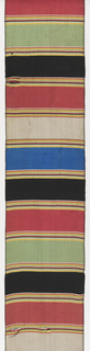 Sash of horizontal stripes in black, rose, yellow, blue, green, and white.