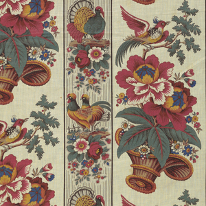 Alternating vertical bands with flowers and birds in polychrome. Narrow band has roosters, chickens and turkeys resting on clusters of flowers. Wider band has large baskets of flowers alternating with an exotic bird on a branch.