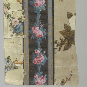 Bavaria 1780-1790; linen, printed and painted wall paper--applied