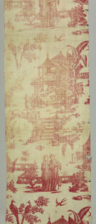 'Chinoiserie' design of people in gardens with buildings and birds. Red on white background.
