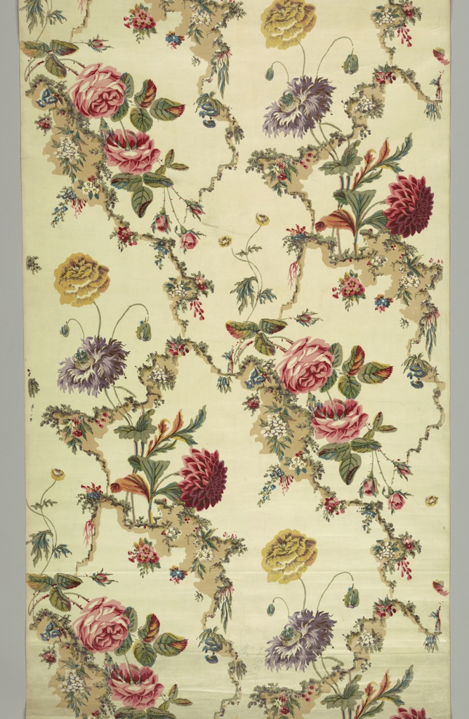 Piece of glazed chintz printed in polychrome on a white ground. Design of light brown serpentine forms is overprinted with small sprays of flowers. Surrounding spaces are filled with large-scale rose, peonies, etc.