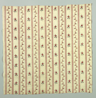 Cotton printed with design of vertical stripes with alternating rows of flowering vines or scattered blooms.