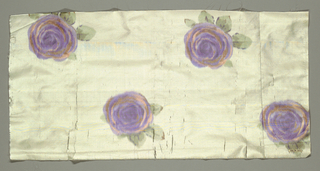 Sample of white taffeta with an allover repeating pattern of single purple roses.