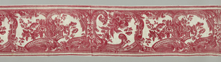 Horizontal border of white cotton printed in red. Broken scroll design of Rococo character forming uneven frames for flower clusters.