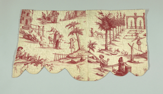 Shaped valance showing rural scenes and part of a tightrope walker. In red on white. Quilted.