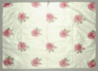 Sample of white taffeta with an allover repeating pattern of single pink roses.