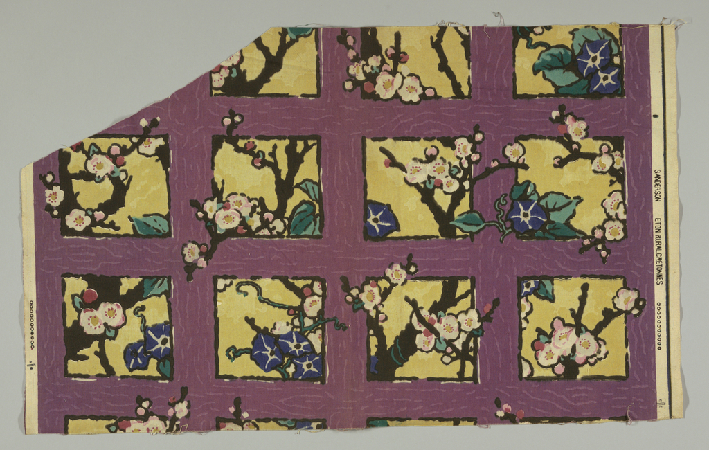 Multicolored block print of a lavender trellis on a yellow ground. Trellis entwined with pink cherry blossoms and blue morning glories.
