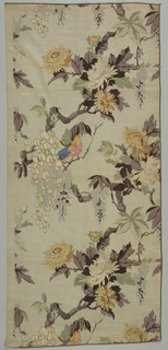 Polychrome block print on light grey background. Serpentine, gnarled  branches with grey leaves, yellow and grey flowers. On the branches are two blue birds with red breasts and deep yellow heads. Condition: soiled.