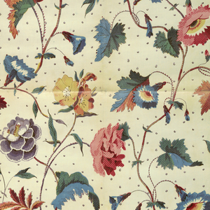 Allover design of floral sprays in polychrome with small widely-spaced polka dots on a white ground.