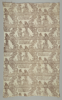 Vertical serpentines of flowers form an ogival framework for vignette of dancing couple along with two small animals playing the drum and zither. German verse appears below the dancing couple. Printed in reddish-brown on natural linen ground.