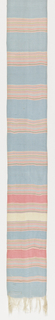 Narrow sash or bet of vertically ribbed plain cloth. Pale blue ground with horizontal stripes of pink, yellow and white. Ends have short fringe formed by warp ends.