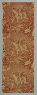 "A single vignette repeated vertically - ""Arrivee de Louis Philippe a la Chambre des Deputes"". Printed in red on white."