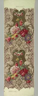 Parrots and large flowers printed in bold colors on a dull violet field, with grisaille framework of scrolls and acanthus and a diapered ground.