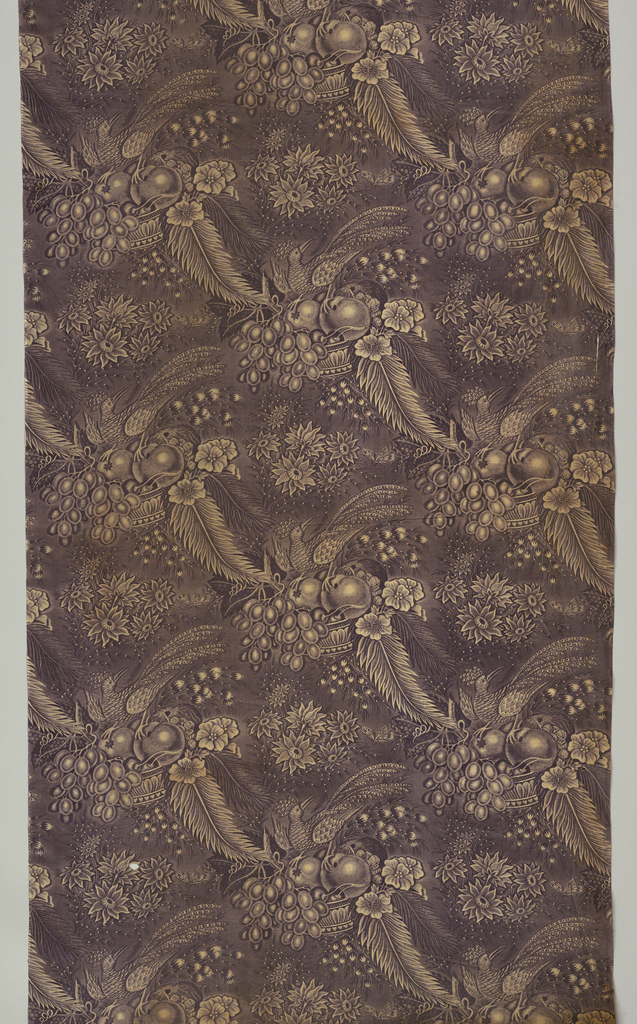 """Offset repeat of an exotic bird perched on top of a bowl of fruit. Three motifs within fabric width. Length of repeat: 38.7cm. (15 1/4""""). Lengths of fabric continue repeat with 1/2"""" additional of pattern for seam allowance."""