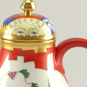 Pear-shaped teapot with domed lid;  white ground with polychrome decoration of stylized figurative scene of a man on horseback in red, green, blue, purple, and yellow on a white ground.