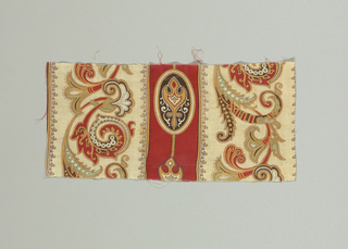 Red stripe ornamented with medallion and white stripes ornamented with scrolling design of Near-Eastern type. Red, green, black and tan.