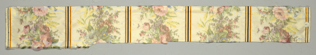 Sample of off-white taffeta divided into vertical columns by narrow satin stripes in orange and black. Columns are filled with a dense arrangement of multicolored flowers. Both selvedges present.