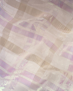Length of woven nylon with a large-scale plaid in pinks and greens on a sheer white ground, with seersucker and iridescent effects.