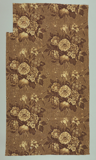 Brown ground with large scale floral pattern in shades of brown to cream color.