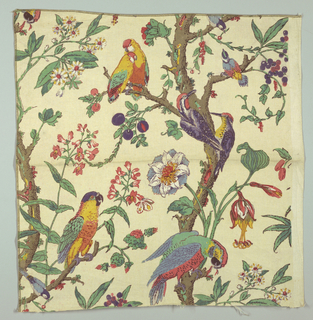Polychrome block print on natural linen. Parallel serpentine, elaborately flowering branches with many exotic birds in bright colors - blue, red, green, yellow on branches (parrots, etc.) Condition: soiled