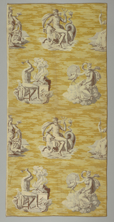 """""""The Four Elements.""""  Four gods and goddesses representing Earth (Ceres), Air (Juno), Fire (Vulcan), and Water (Neptune) on yellow background."""