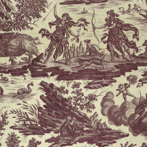 Assorted scenes illustrating stories about the goddess Diana. In one, Acteon has just been turned into a stag, in another a wild boar ravages the fields of Calydon. In brown on white.