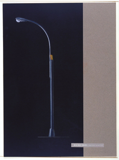 """Profile view of treetlight in two sections with extruded aluminum #10 oval pole with grooves on either end into which a curved arm fits with kidney-shaped light fixture on the end.  On top of the pole is an orange """"call"""" light that could be illuminated in case of an emergency on the street. Overlapping drawing in lower right is gray adhesive label printed in white ink: DONALD DESKEY ASSOCIATES 575 Madison Avenue, New York 22, N.Y."""