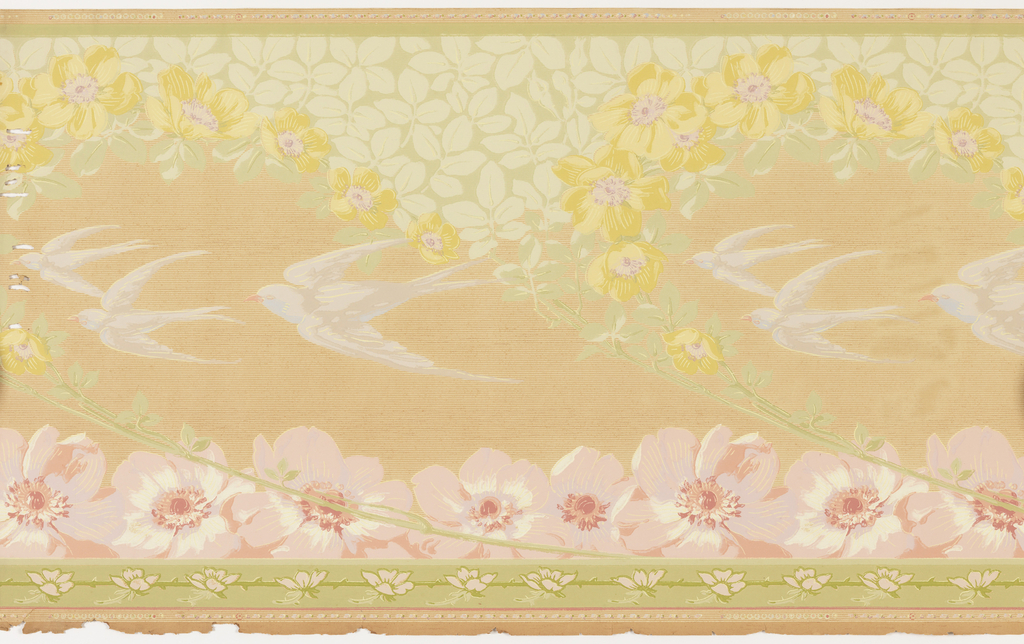 Art nouveau style, white birds, possibly swallows, in flight with vertical garlands of flowers on beige striated background.