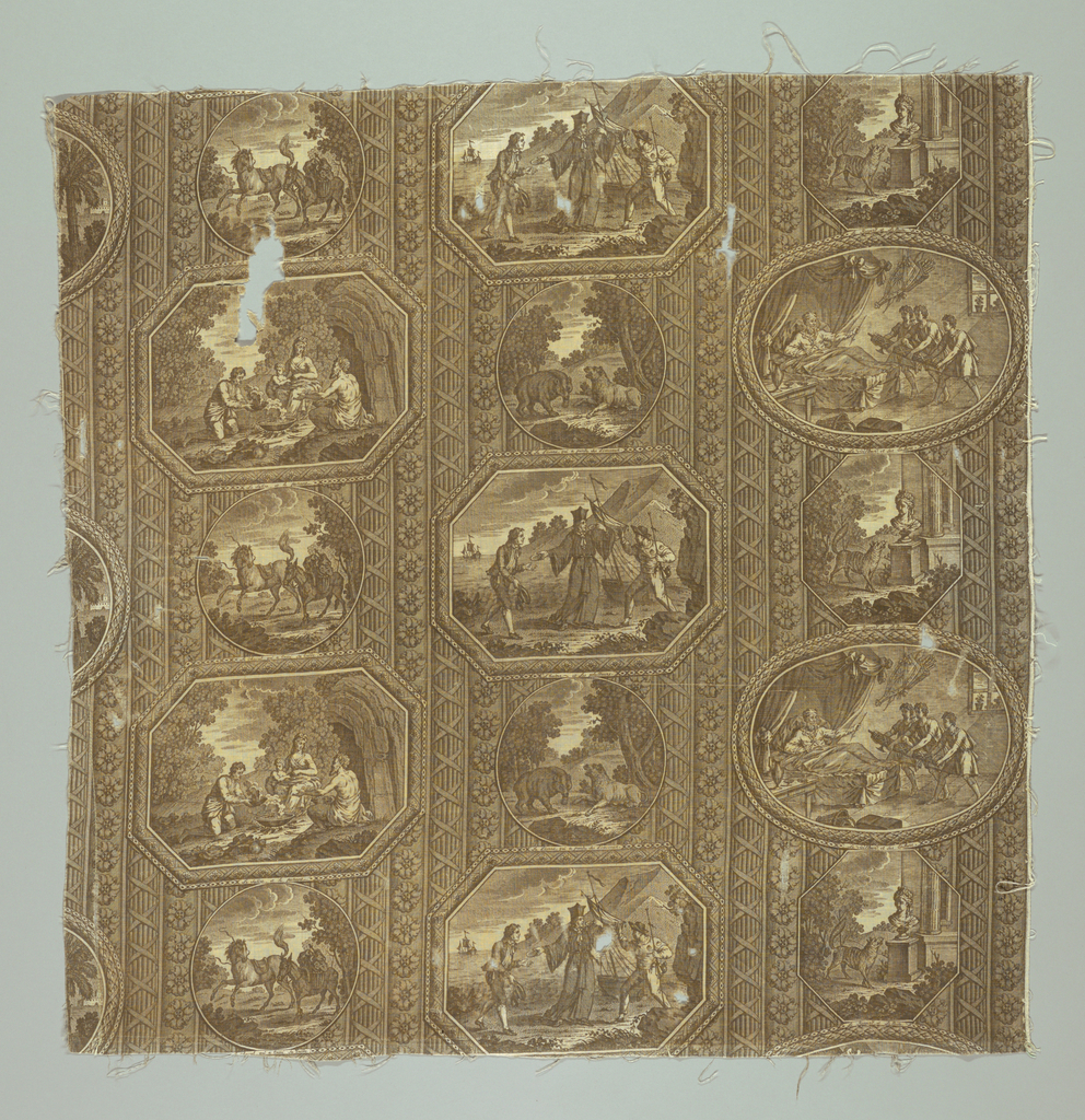 Fragment of printed fabric: 6 circular, oval and octagonal pictures each illustrating a different one of the fables of Fontaine on a background of classical columns. LeRenard et le Buste (from Book IV), Le Vieilleur et Ses Enfans (from Book IV), L' hustre et les plaideurs (from Book IX) La Lionne qui a perdu Ses Lionceaux (in Fontaine La lionne et l' Ourse in Book X), Le Sature et le passant (Biij V) and le cheval qui a casse Sa bride (in Fontaine Le Cheval et l'ane from Book VI)