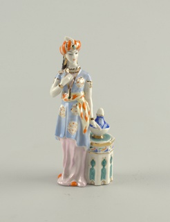 Asian Woman with Inkwell Figural Container And Cover