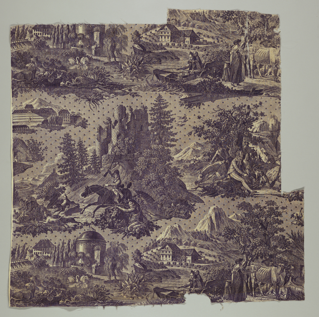 "Fragment in bluish-purple copper plate. Center of design shows huntsmen and dogs running down boar, in background a ruined castle. On rock behind huntsmen the inscription ""Vue et sitede la vallee de Munster an Alsace"". Other parts of design show elegant garden with swans, milkmaid with cow etc. Far left, large Munster factory is shown, inscribed ""Manufacture de Munster"". Background between images is lined and dotted with clever leaves at regular intervals. Lower left corner, Ch.... Kurol (?) f. [ecit]. Design known as ""Chasse et peche dans la vallee de la Wormsa"">"