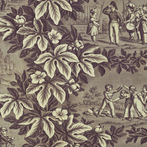 four vignettes of children at play. Each in an oval compartment framed by large scale foliage. Printed in purple on white.