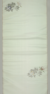 Panel of pale blue ribbed silk with a brocaded design in multicolored silk and gold of a peacock perched on a branch with flowers and rocks.