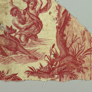 Fifteen different fragments which when put together can almost form the repeat of the fabric. There are shaped cartouches containing scenes from mythology which symbolize the four elements; fire water, earth and air. In red on white.