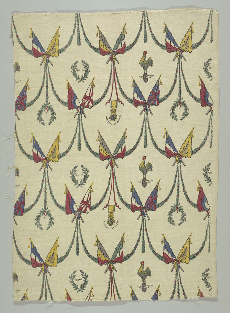 "Multicolored print of patriotic motifs pertaining to World War I. Cock, crossed flags, swags and wreaths of laurel, the date ""1914-1915,"" and a medal with an inscription below ""A Joffre. La Patrie."""
