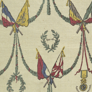 """Multicolored print of patriotic motifs pertaining to World War I. Cock, crossed flags, swags and wreaths of laurel, the date """"1914-1915,"""" and a medal with an inscription below """"A Joffre. La Patrie."""""""