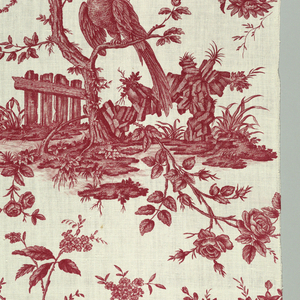 Repeating pattern of birds perched in a tree; butterflies, rockery, nest with eggs. Red on white.