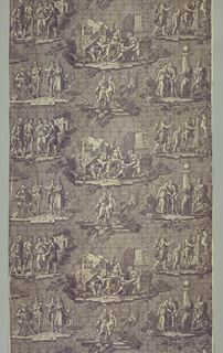 "Five scenes from the story of the general Belisarius Printed in purple on white. Signed: Coron. Two curtains with the trade mark ""Indienne Francaise"" (curtain A).   The story of Belisarius, a Byzantine general who was victorious on the field of battle but falsely accused of conspiracy and disgraced, became very popular at the end of the 18th century after the publication of Belisaire by Marmontel in 1767. The central scene is after David's 1781 painting ""Belisarius."" (Recognized by a soldier who had served under him at the moment a woman gives him alms.)"