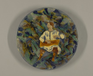 Man playing stringed instrument Plate, ca. 1930