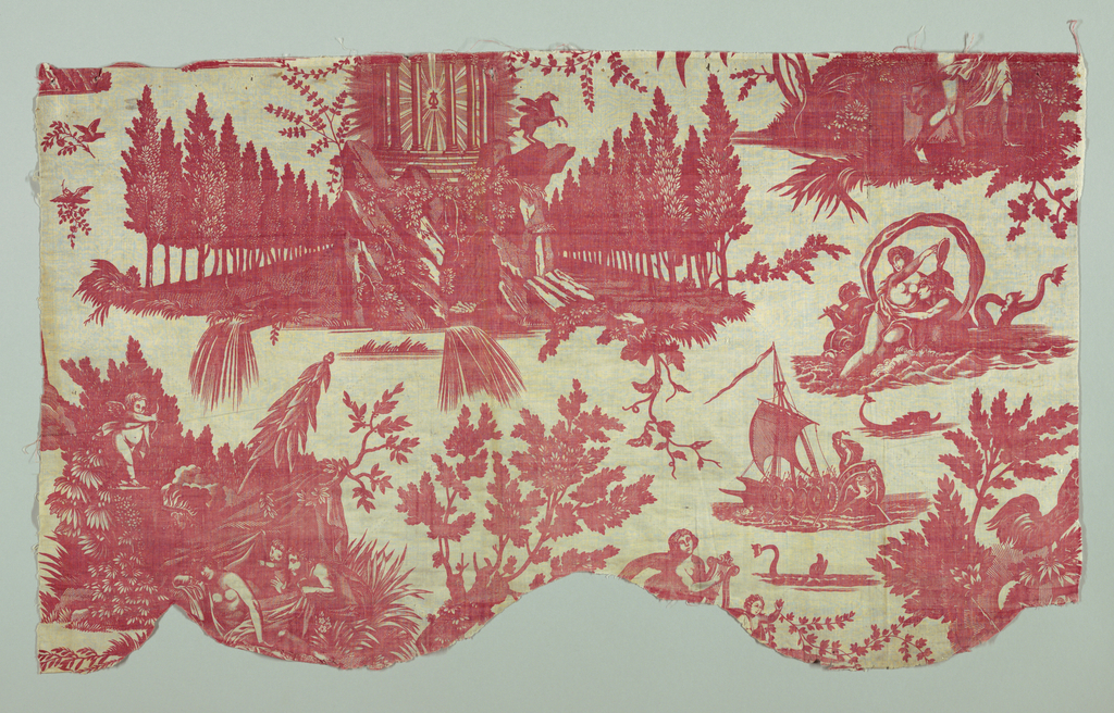 Copy of the Petitpierre design, 'le char de l'aurore'. Three pieces which when overlapped do not make the full repeat.