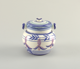 White ovoid body with horizontal blue stripes and purple orchid motif. Two knobs extend horizontally from the straight neck. Lid with concentric circles.