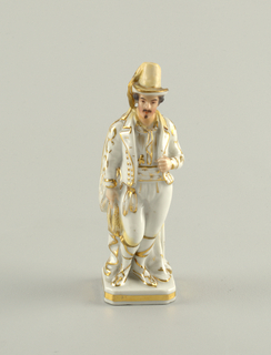 A man dressed in white with gold accents. He wears a tall hat with a long gold feather.